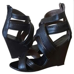 Joie Black Strappy Wedges